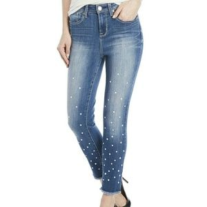Women's Faux Pearl-embellished Ankle Skinny Jeans